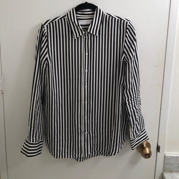 ab9b4e6533eb9 Everlane Tops - Everlane Black and White Striped Silk Shirt